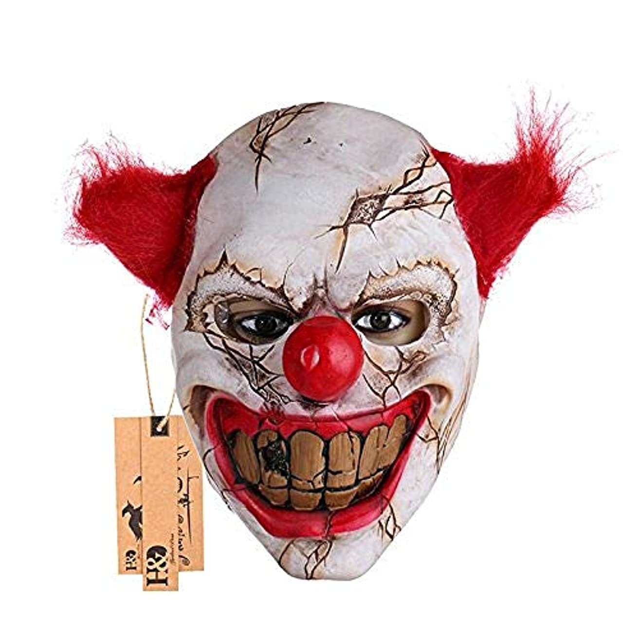 おじさん女性効果的にハロウィーンラテックスピエロマスク、コスチュームパーティー小道具マスク、透明な大きな口の赤い髪の鼻、コスプレホラーマスカレードマスクゴーストパーティー