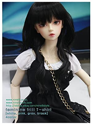 *NINE STYLE* Feminine frill T-shirt (Black) 40cm doll 洋服