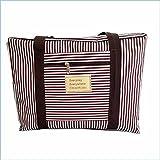 【iiko.TOKYO】 キャリーバッグ に乗せて使える バッグ bag on bag 大量 荷物 スーツケースに 収まらない サブバッグ として キャリーに通せるストラップ 付き (M, ブラウンストライプ)