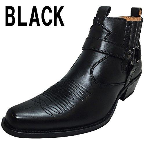 「DECT」ウエスタンブーツ ショートブーツ サイドゴア メンズブーツ リングブーツ 110-27-BLACK