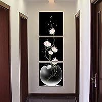 壁絵 壁掛け 花 絵画 アート モダン 花 3枚 続き 絵 インテリア おしゃれ 部屋飾り 廊下 リビングルーム ベッドルーム 美術室 現代(額縁なし) (50x50cm)