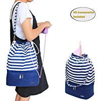Teamoy Knitting Bag, Drawstring Travel Shoulder Tote Bag Organizer for Yarn, Unfinished Project, Knitting Needles and Accessories, Perfect for Knitting on The Go ,Blue Strips