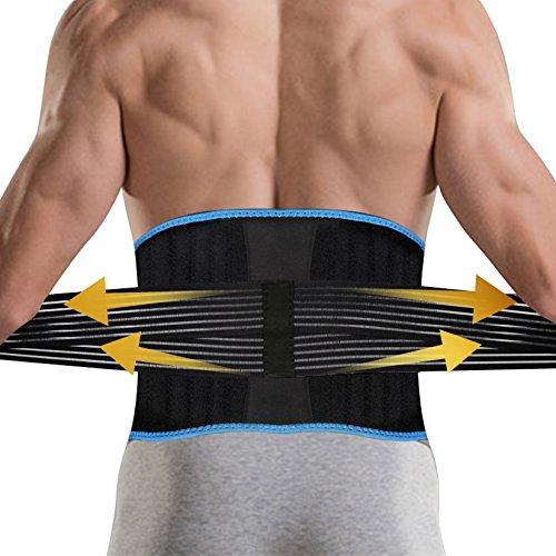 DBPOWER 腰サポーター 男女兼用 補助ベルト付き ブラック 100*20CM