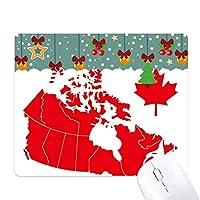 赤いカエデの葉のシンボルカナダ地方の地図 ゲーム用スライドゴムのマウスパッドクリスマス