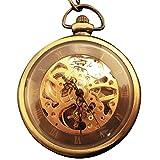 [モノジー] MONOZY 手巻き 機械式 ネックレス 時計 ブロンズ スケルトン 懐中時計 ペンダント 収納袋 化粧箱