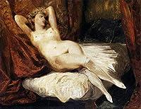 手書き-キャンバスの油絵 - 美術大学の先生直筆 - Female ヌード絵画 Reclining on a Divan ロマンチック Eugene Delacroix 絵画 洋画 複製画 ウォールアートデコレーション -サイズ15