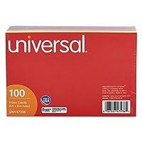 インデックスカード、4x 6、ブルー/サーモン/グリーン/チェリー/カナリア、100/パックby :ユニバーサル