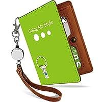 KEIO リール付きパスケース カバー 定期入れ 子供 二つ折り 2枚 3枚 4枚 カードケース かわいい 可愛い ケース アフロ 緑2 定期いれ パスケース iptnアフロ緑2ps
