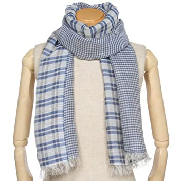 Linen Rayon Cotton Scarf 1351274: Blue