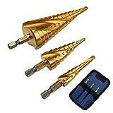 WitSea ステップドリル スパイラル タケノコドリル 六角軸 9段/15段4-32mm HSS鋼 穴開け/拡大 高精度 電動工具 ポーチ付 3本セット