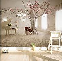 Weaeo 現代アートピアノツリー支店の写真の壁紙ダイニングルームの居間のソファの背景壁画3D壁の壁の壁画-400X280Cm