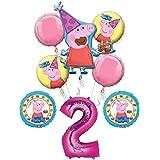 ペッパピッグ 2歳誕生日パーティーバルーンブーケバンドル 2歳用 バルーン8個付き