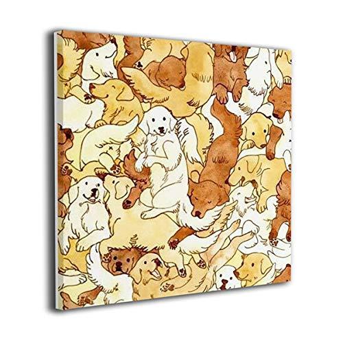 """ウォールの夢 壁の絵 かわいい 犬 モダンアート キャンバス絵画 美術室 額縁付き お祝いやプレゼントに 芸術の絵画 軽くて取り付けやすい 20""""x20"""""""