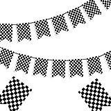 チェック柄 黒と白のバナー レースフラッグ バナー チェック柄 旗 バナー レーシングフラッグ レーシング 誕生日パーティー用品 ラインバナー レースカーパーティー デコレーション F1レースフラッグ ウェルカムレースファンバナー - 8x5.5インチ