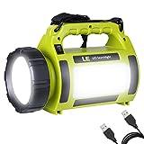 LE 充電式 懐中電灯 LEDサーチライト 3600mAhバッテリー内蔵 調光対応 防水 USBケーブル付属 アウトドア ハイキング キャンプ 夜釣り