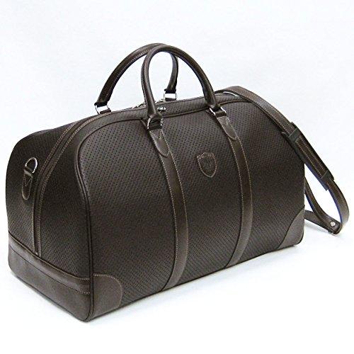 豊岡かばん パンチング合皮 大割れボストンバッグ 48cm ショルダーベルト付 #10405 (チョコ)