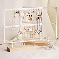 lemonadeus Earrings Organizer Jewelry Display Wood Stand (44 Holes 2 Layers) (White)