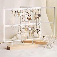 Lemonadeus Earrings Organizer Jewelry Display Wood Stand (44 Holes 2 Layers) White