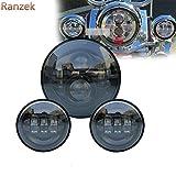 """Ranzek 7インチオートバイのデイメーカーLEDヘッドライト+ 2個のハーレーダビッドソンのための4-1 / 2 """"フォグランプLEDライトを点灯するフロントライトを点灯するランププロジェクター(黒)"""