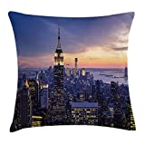 Modern Decor Throw Pillow Cushion Cover, New York City Skyline with Skyscrapers at Sunset Night American Town Image, Decorative Square Accent Pillow Case, 18X18 Inches, Blue Orange