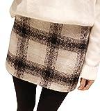 (イレリル) 格子 チェック 柄 ミニ 丈 スカート レディース 起毛 ツイード 黒 (3: XL サイズ )