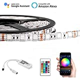 Opard WiFi LED Light Strip Music Sync Remote Controlled by Alexa Echo Android ISO Smart Phone IP65 Waterproof 16.4ft Cuttable Strip with 24 Keys Controller and RGB 150LED SMD5050
