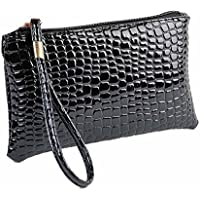Start_wuvi Woman Fashion Pure Color Crocodile Pattern Leather Handbag Zipper Clutch Coin Bag Style Classic And Noble Most Popular Best Gift (Black)