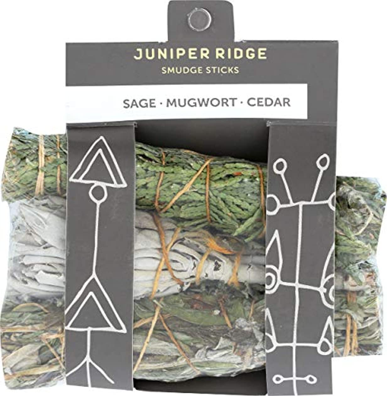 見せます焦げ年次Juniper Ridge Smudge Sticks – Mini 3 Pack – Sage Mugwort Cedar – Varietyパック