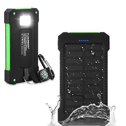 FlOUREON 10000mAh 大容量 モバイルバッテリー LEDライトコンパス付き 2USB出力ポート ソーラーチャージャー 災害時/旅行/アウトドアに大活躍 iPhone、 iPad、スマホ、タブレット対応 防水 防塵 耐衝撃12ヶ月保証付き