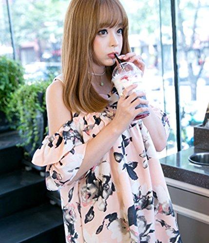 (ミニマリ) minimali プリントワンピース 花柄 Aライン 大人可愛い デート服 肩出し 二次会 オフショル ノースリーブ ミニ丈 ドレス レディース XLサイズ ピンク