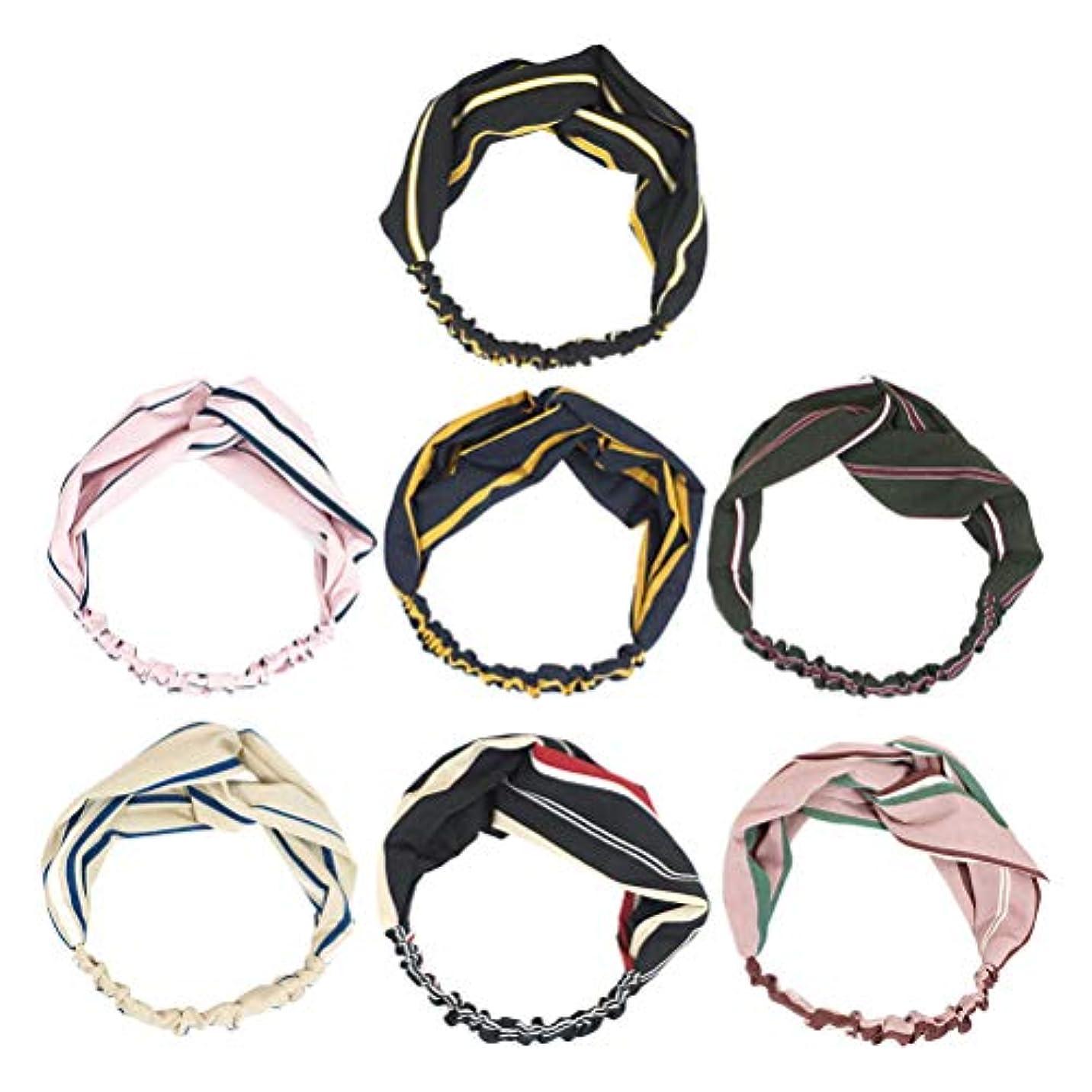 倫理的金銭的な示す7pcsヘッドバンドクロスノットちょう結び甘いストライプヘアバンド女性のためのヘアアクセサリーGirls(Ming Blue + Pink + Skin Color + Black + Black Red Stripe...