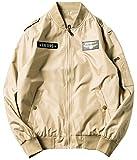 Blissmall MA-1 ブルゾン メンズ ma1 ジャケット ミリタリージャケット フライトジャケット ライダー カジュアル 春秋冬のコート 楽しく選べる全6色 BB11 (4L, (A)カーキ)