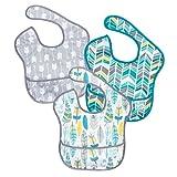 バンキンス 油が落ちるスタイ3点セット【日本正規品】スーパービブ 柔らかくて軽量 洗濯機で洗えてすぐ乾く お食事用防水ビブ 6~24ヶ月 Neutral Assorted S3-N16