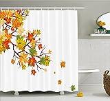 Fall Decorationsシャワーカーテンby Ambesonne、Fallイメージカナダのカエデの葉植物にコールドエフェクト、ファブリックバスルームDecorセットwithフック、84インチExtra Long、イエローオレンジ