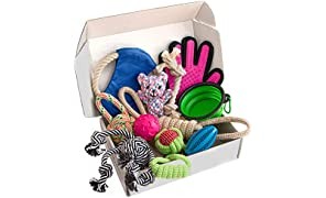 Zenify Puppy Dog Toys Gift Box - Pet Interactive Dog Rope Toy Starter Set - Tug Cotton Fetch Ball Rubber Training Puppies Play Grooming Glove Portable Travel Bowl