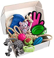 Zenify Puppy Dog Toys Gift Box - Pet Interactive Dog Rope Toy Starter Set - Tug Cotton Fetch Ball Rubber Train