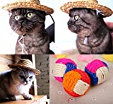 【MM-106】 犬 猫 ペット用 面白グッズ 麦わら帽子 & 天然麻ボール (M)