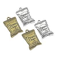 Prettyia ネックレス 手作り ペンダント 合金 ポテトチップスの袋の形 チャーム 4個入り