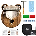 カリンバ17キー 親指ピアノ アフリカ楽器 ソリッドウッド ハンマー、ハンマー、スタディガイド、清掃クロス、ケース付き 指オルゴール AKLOT (クマ)