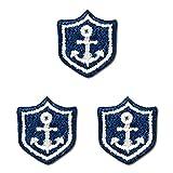 ミノダ 小さめマリンの刺繍アイロンワッペン イカリ/ワッペン 3枚セット