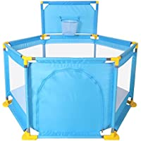 HUO 6面の子供用ガードレールセット、クロールマットとマリンボール付きのベイビーゲームフェンスセーフティバッフル 省スペース (色 : 青)