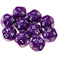 Perfk 10個 多面体 ダイス サイコロ 骰子 全9色 - 紫