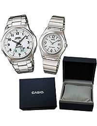 【カシオソーラー電波時計ペア箱入りセット】[カシオ]CASIO 腕時計 WAVECEPTOR ウェーブセプター ソーラー電波腕時計WVA-M630D-7AJF メンズ&LWQ-10DJ-7A1JF レディース カシオ専用ペア箱セット
