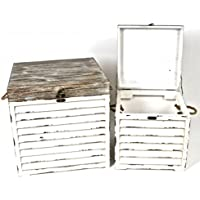 Jcook Home Decor 木製収納ボックス 2個セット (16.9/12.9インチ)