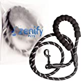 Zenify Pets Dog Lead - Durable Strong Chew Resistant Slip Lead Nylon Rope Padded Handle Mountain Climbing Harness Pet Puppy Training Slipknot Leash for Walking [1/2 inch 1.2cm Thick, 6 Foot Ft 183cm Length Long] (Black)