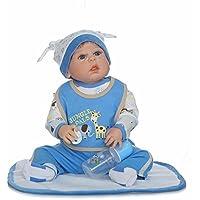 Soft 23''Blue Baby Boy avec sucette fait main Reborn Baby Dolls réaliste Full silicone de vinyle Doll Childs cadeau d'anniversaire de Noël de vacances cadeau de mariage réduire l'anxiété aide autisme femmes enceintes