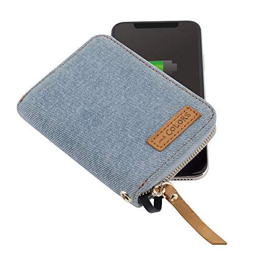 モバイルバッテリー RZSB by andCOLORS 4000mAh iPhone/Android同時充電 カード&コイン収納 デニム調 (ライトブルー)