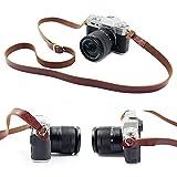SUSUMU カメラストラップ カメラショルダーネックストラップ 前掛け 肩掛け バンド 本革 高級感 調節可能 一眼レフ ミラーレス用 便携式 for DSLR Camera Nikon Canon Sony Pentaxなど(褐)