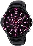 [シチズン キューアンドキュー]CITIZEN Q&Q ソーラー腕時計 SOLARMATE (ソーラーメイト) アナログ表示 クロノグラフ機能付き 10気圧防水 ウレタンバンド ピンク H034-007 メンズ