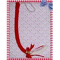 萌えグッズ かわいい リボン & 鈴付き 猫しっぽ 80センチ 赤×白 コスプレ